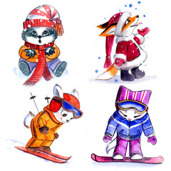 Winter fun, little animals characters