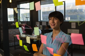 Female executive looking sticky notes on glass wall