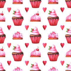 Hand painted seamless pattern with watercolor muffin, cake and red heart isolated on white background