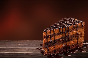 Chocolate cake with chocolate creame isolated on