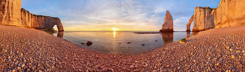 Beautiful Etretat beach at surise, costline panorama, France
