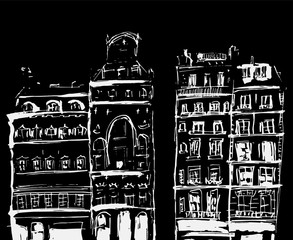 Ink sketch of buildings. Hand drawn illustration of Houses in the European Old town. Travel artwork.White line drawing isolated on black background.