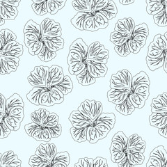 Light Blue Hibiscus flower print. Gorgeous nasturtium. Floral Pattern. Trendy seamless background. Fashion Texture. Line drawing. Vector botanical illustration for fabric, wrapping and other design.