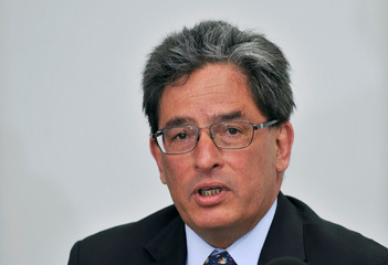 Colombia's Finance Minister Alberto Carrasquilla Barrera addresses the media during a news conference in Bogota
