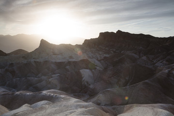 Scenic view of rock formations against sky during sunset at Death Valley National Park