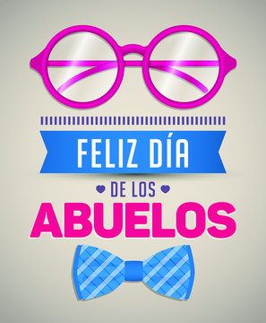 Feliz dia de los abuelos, Happy grandparents day spanish text, vector illustration with glasses and Bow tie
