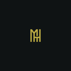 Modern unique elegant MH black and golden color initial based letter icon logo