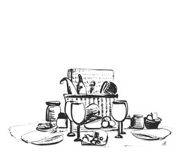 Picnic on the grass or table. Vector sketch. Dishes, glasses, food and drink