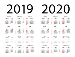 Calendar 2019 2020 - illustration. Week starts on Sunday