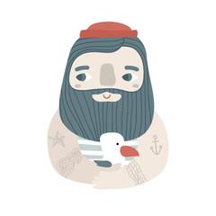 Cute cartoon sailor with seagull. Creative illustration for card, poster,apparel, t-shirt.Vector illustration