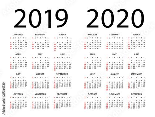 Vector De Calendario 2020.Calendar 2019 2020 Illustration Week Starts On Sunday