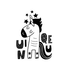 Cute hand drawn unicorn in black and white style. Cartoon vector illustration in scandinavian style
