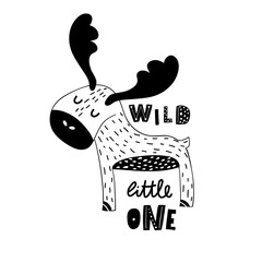 Cute hand drawn moose in black and white style. Cartoon vector illustration in scandinavian style