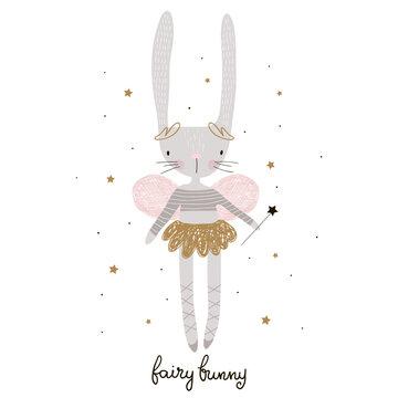 Cute cartoon bunny fairy. Rabbit bellerina with wings. Childish print for nursery, kids apparel,poster, postcard. Vector Illustration
