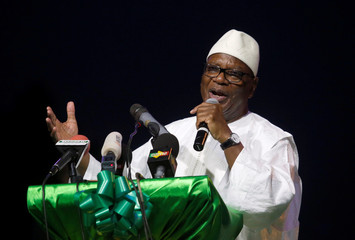 Keita, President of Mali and candidate of RPM speaks during a rally in Bamako
