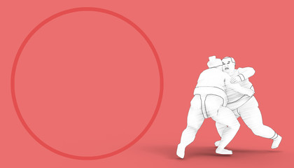 Sumo Sport and Geometric Circle shapes Red Background / Illustration Art