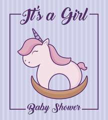 baby shower design with its a girl concept with horse toy icon over purple background, colorful design. vector illustration