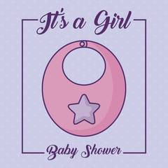 baby shower design with its a girl concept with cute bib icon over purple  background, colorful design. vector illustration