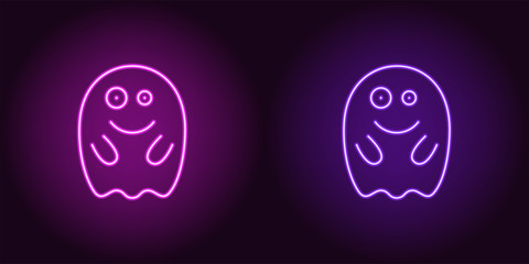 Soaring neon spirit in purple and violet color
