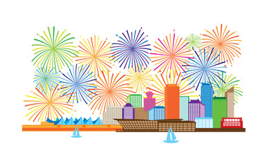 Vancouver BC Canada Skyline and Fireworks display color Illustration