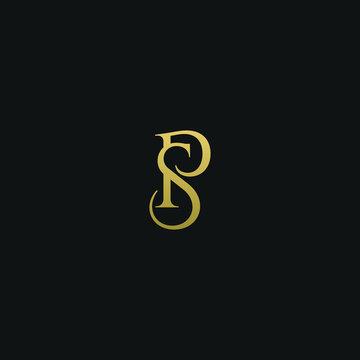 Unique modern elegant SP black and gold color initial based letter icon logo