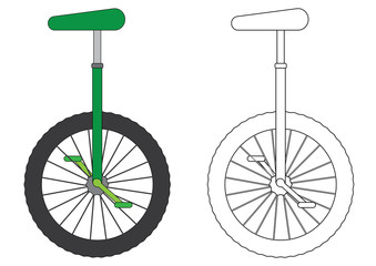 Unicycle, coloring page. Vector illustration.