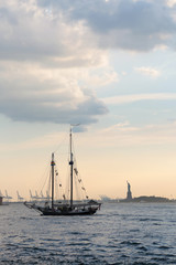 Statue of Liberty and yacht, New York City