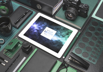 White Tablet Mockup with Office Supplies