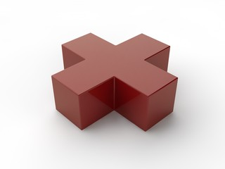 Illustration of a red cross isolated on white background. Deya the emergency aid, medicine. Image for compositions of medical subjects. 3D rendering