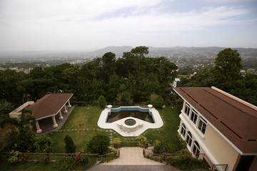A panoramic view of a backyard of a house of El Salvador's former President Elias Antonio Saca seized by the Attorney General's Office in San Salvador