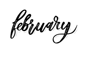 February Calligraphy Lettering Day Month Vector Brush