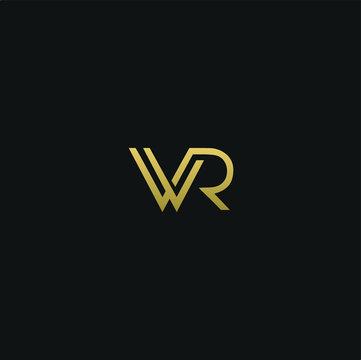 Modern unique elegant WR black and golden color initial based letter icon logo