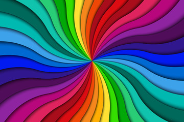 Color spiral background, bright colorful swirling radial pattern, abstract vector illustration