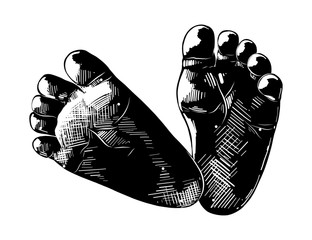 Vector engraved style illustration for posters, decoration and print. Hand drawn sketch of baby foots in black isolated on white background. Detailed vintage etching style drawing.