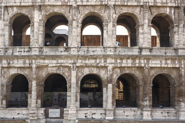 Detail of the Colosseum, known as Amphitheatrum Flavium, symbol of the city of Rome, of Italy and one of the seven wonders of the world. In ancient times it was used for gladiatorial shows.