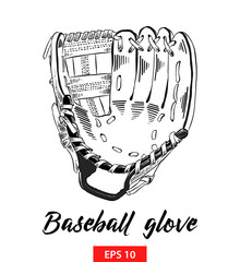 Vector engraved style illustration for posters, decoration and print. Hand drawn sketch of baseball glove in black isolated on white background. Detailed vintage etching style drawing.