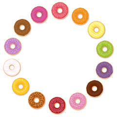 Donuts circle. Many different tastes. Isolated vector illustration on white background.