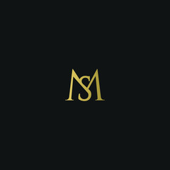 Modern creative elegant MS black and gold color initial based letter icon logo