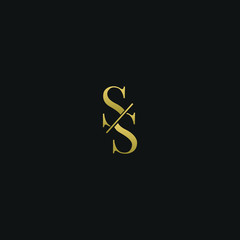 Modern creative elegant SS black and gold color initial based letter icon logo