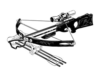 Vector engraved style illustration for posters, decoration and print. Hand drawn sketch of crossbow in black isolated on white background. Detailed vintage etching style drawing.