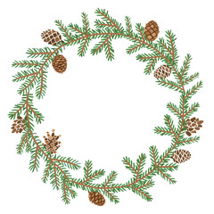 Vector pine branch circle frame. Forest background