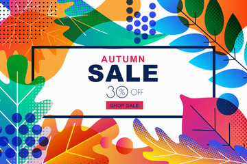 Vector sale banners with color gradients fall autumn leaves. Design template for poster, discount labels, flyers.