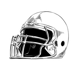 Vector engraved style illustration for posters, decoration and print. Hand drawn sketch of american football helmet in black isolated on white background. Detailed vintage etching style drawing.