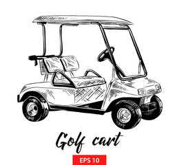 Vector engraved style illustration for posters, decoration and print. Hand drawn sketch of golf cart in black isolated on white background. Detailed vintage etching style drawing.