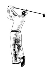 Vector engraved style illustration for posters, decoration and print. Hand drawn sketch of golfer in black isolated on white background. Detailed vintage etching style drawing.