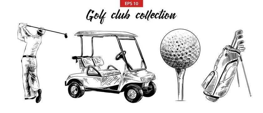 Vector engraved style illustration for posters, decoration and print. Hand drawn sketch set of golf bag, cart, ball and golfer in black isolated on white background. Detailed vintage etching drawing.