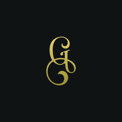 Modern creative elegant G black and gold color initial based letter icon logo