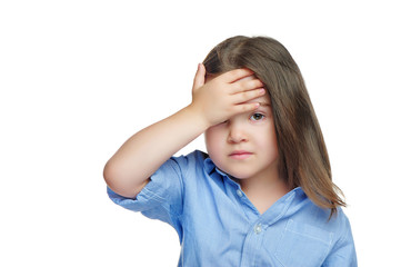 Sad little girl having headache