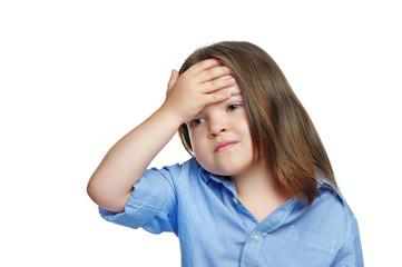 Brunette little girl having headache