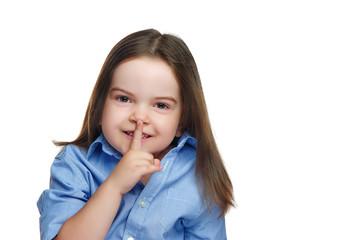 Brunette girl showing secret gesture against isolated on white
